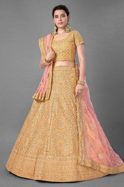Yellow Silk Embroidered Lehenga