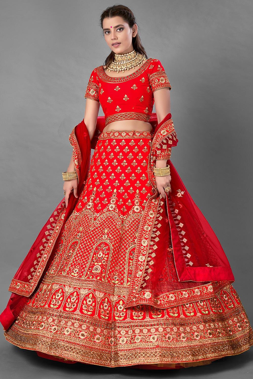 Red Satin Silk Embroidered Lehenga