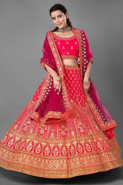 Pink Satin Silk Embroidered Lehenga