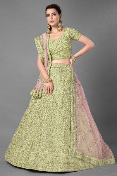 Pista Green Silk Embroidered Lehenga