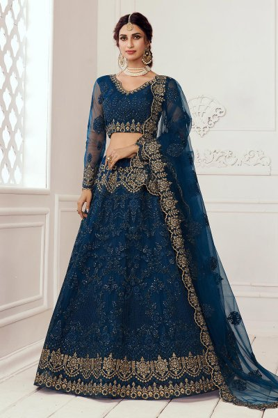 Persian Blue Beautiful Embroidered Indian Lehenga in Net lined with Silk