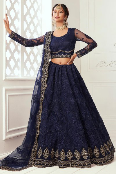Navy Blue Beautiful Embroidered Indian Lehenga in Net lined with Silk