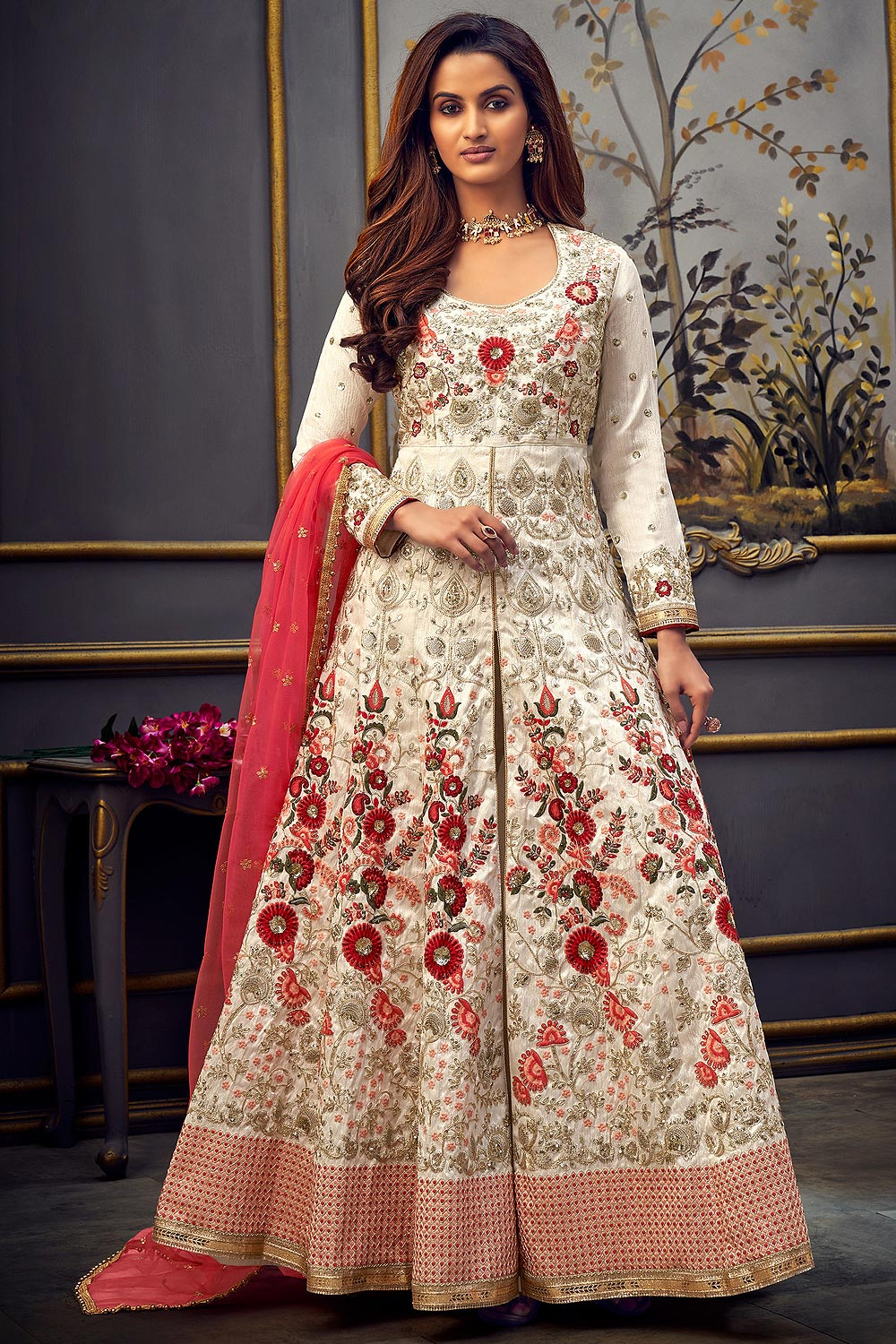 Red And White Silk  Anarkali Suit