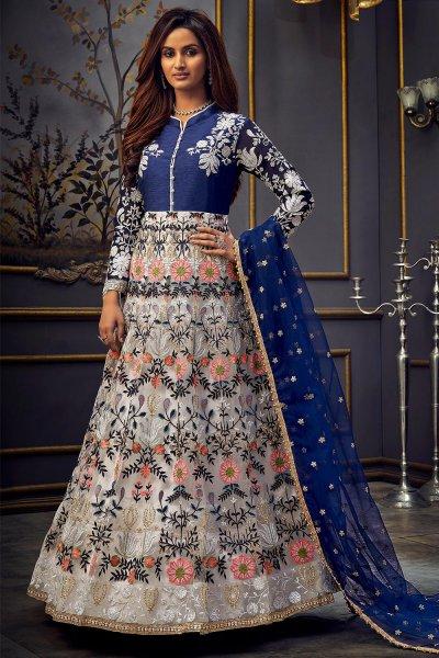 White And Blue Zari Embroidered Anarkali in Net