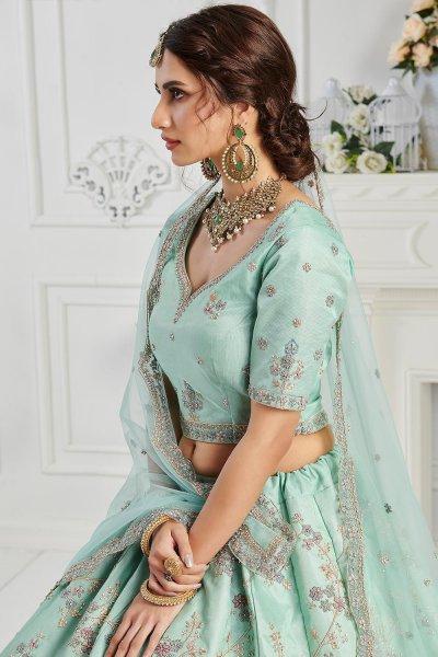 Pale Turquoise Silk embroidered lehenga