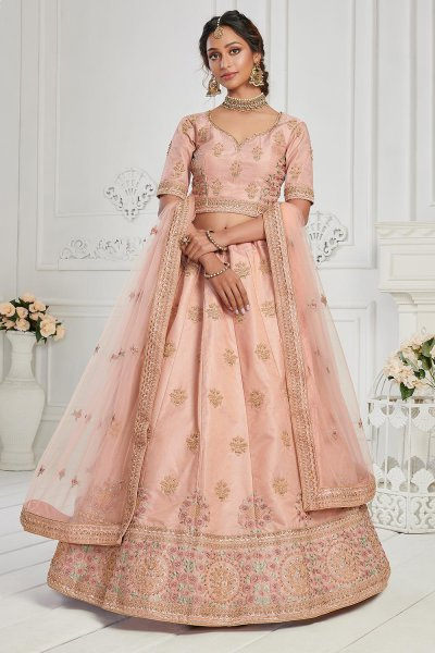 Peach Pink Silk embroidered lehenga
