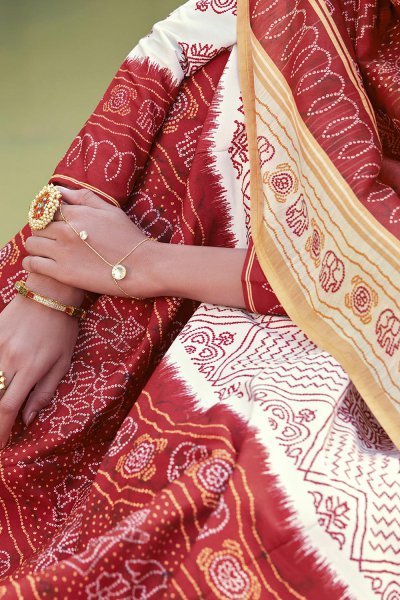 Ivory And Maroon Jacquard Silk Printed Long Anarkali Dress with Silk Dupata