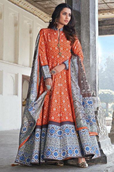 Orange And Blue Jacquard Silk Printed Long Anarkali Dress with Silk Dupata