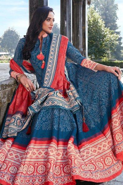 Blue And Red Jacquard Silk Printed Long Anarkali Dress with Silk Dupata