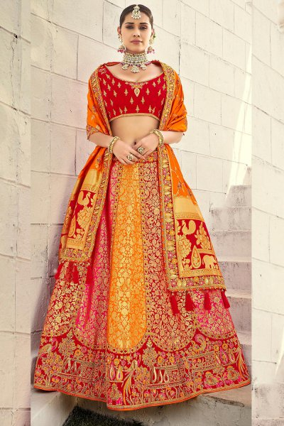 Beautiful Red and Orange Silk Lehenga Choli with Zari Detailing