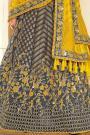 Dark Steel Blue Resham and Zari Embroidered Silk Lehenga Choli
