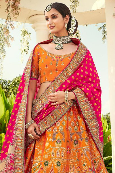 Orange Zari Embroidered Lehenga Choli in Silk