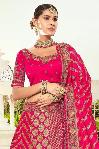Pink Resham and Zari Embroidered Silk Lehenga Choli