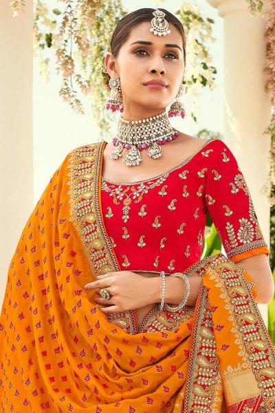 Red Zari Embroidered Lehenga Choli in Silk