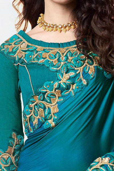 Teal Blue Embroidered Saree In Art Silk