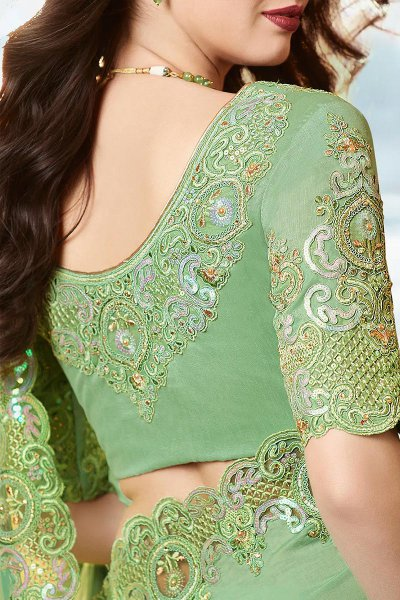 Mint Green Embroidered Saree In Art Silk