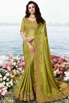 Mehendi Green Embroidered Saree In Art Silk