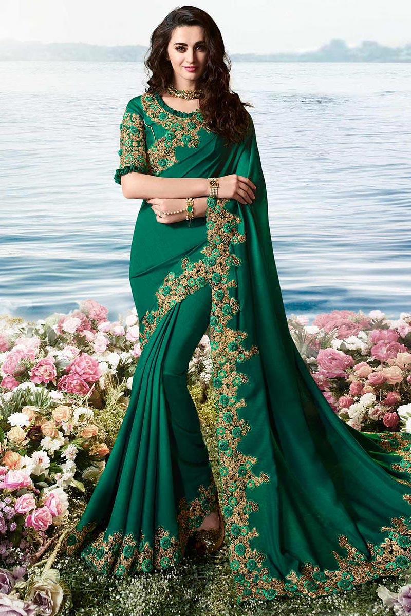 Dark Green Embroidered Saree In Art Silk