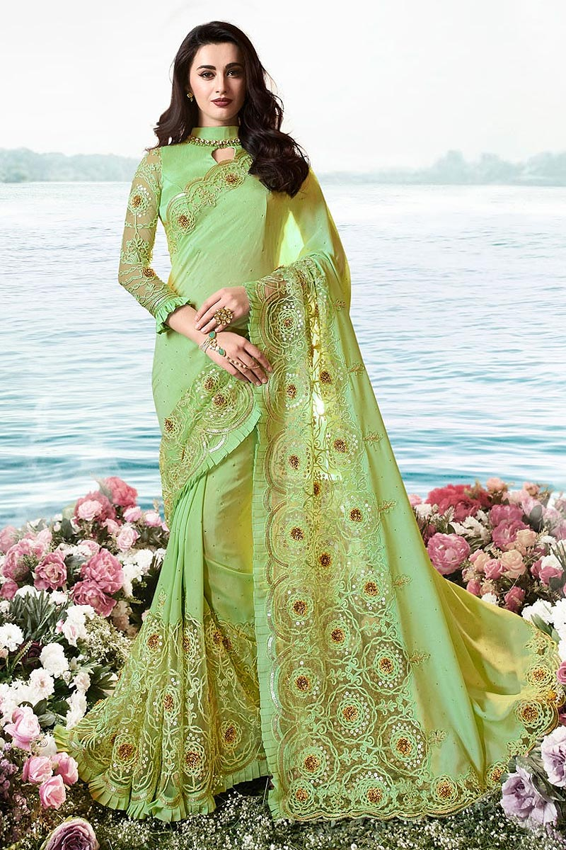 Soft Green Embroidered Saree In Art Silk