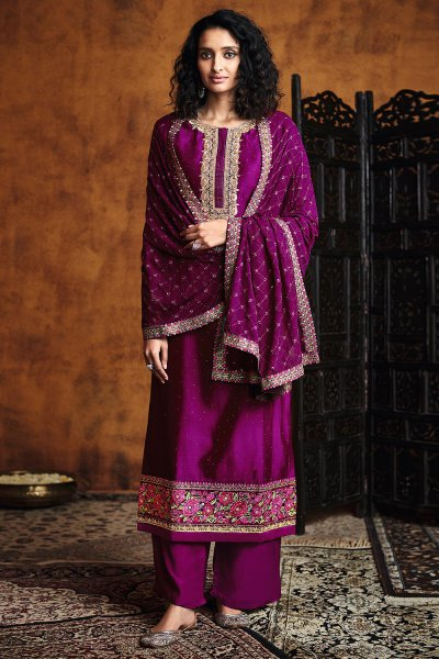 Magenta Zari Embroidered Salwar Suit in Silk with Dupatta