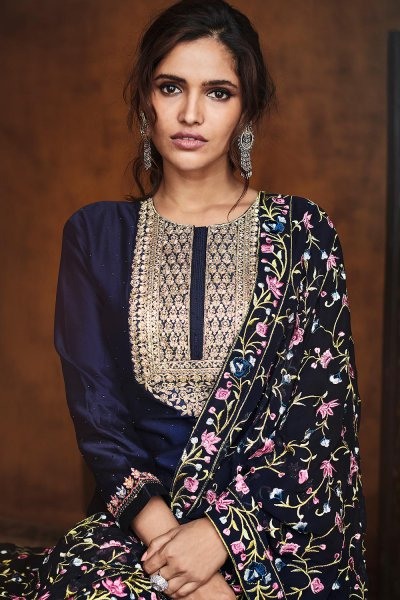 Navy Blue Zari Embroidered Salwar Suit in Silk with Dupatta