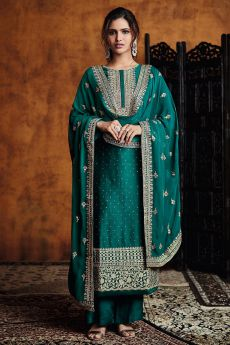 Teal Zari Embroidered Salwar Suit in Silk with Dupatta