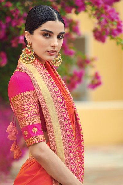 Orange  Pure Banarsi Silk  Saree With Pink Banarsi Border
