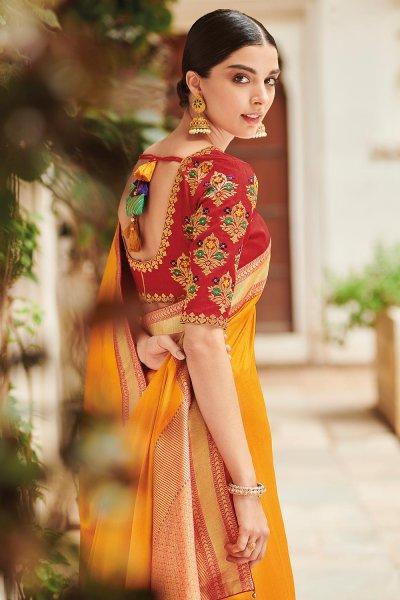 Yellow Pure Banarsi Silk Saree With Red Banarsi Border