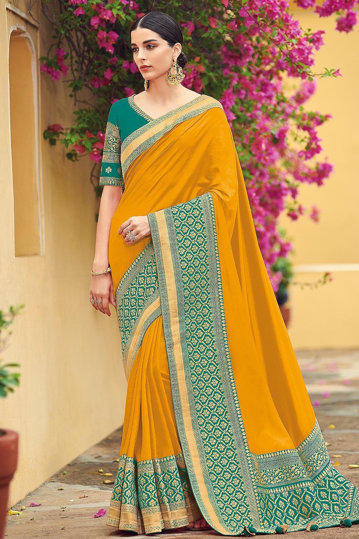 Mustard Yellow Pure Banarsi Silk Saree With Teal Blue Banarsi Border