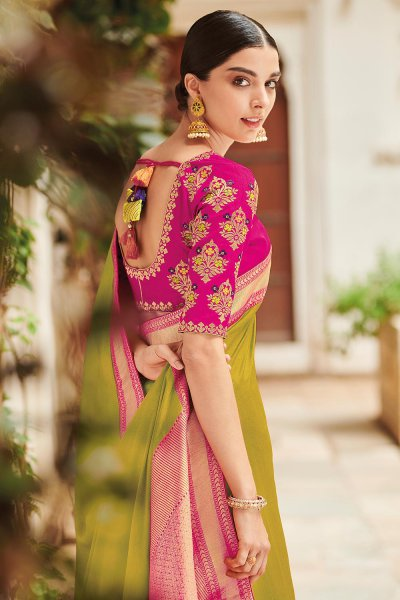 Mehendi Green Pure Banarsi Silk Saree With Pink Banarsi Border