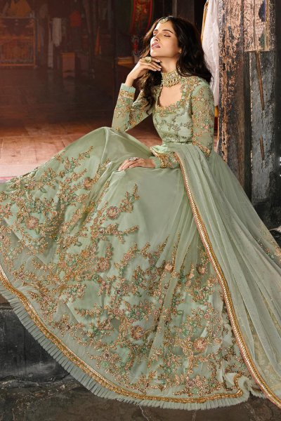Pastel Green Zari Embroidered Anarkali Suit in Net