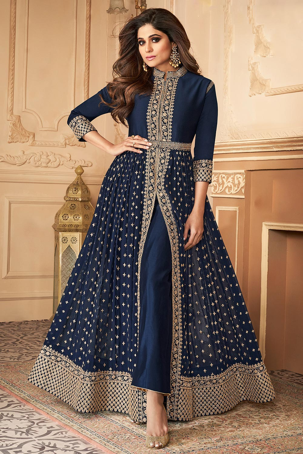 Navy Blue Zari Embroidered Anarkali Suit in Georgette with Dupatta