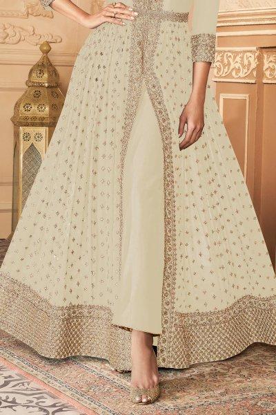 Cream White Zari Embroidered Anarkali Suit in Georgette with Dupatta