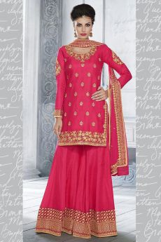 Bright Pink Heavy Embroidered Silk Palazzo Suit