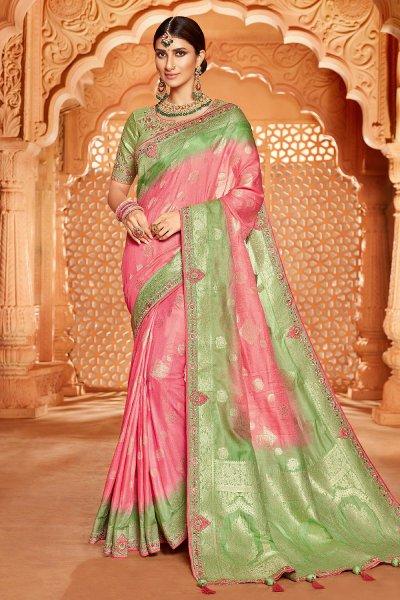 Pink and Pastel Green Banarsi Silk Embroidered Saree