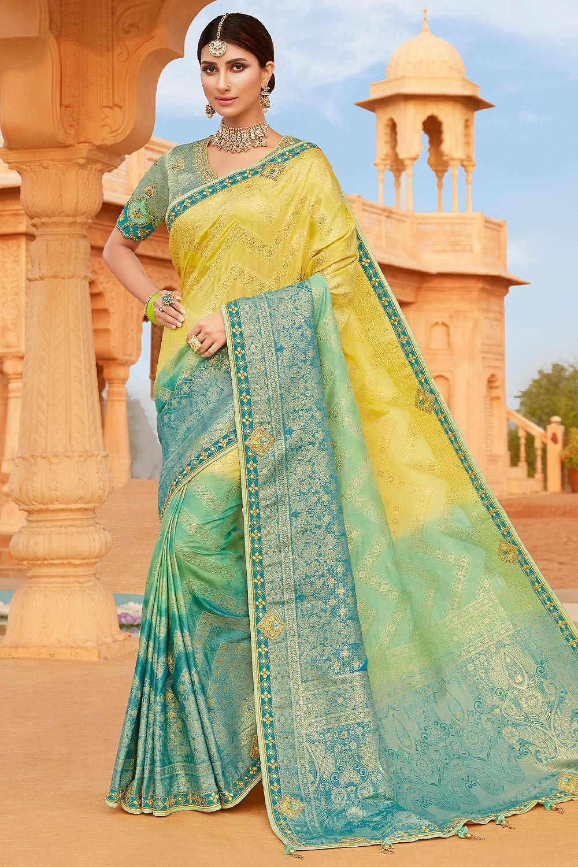 Yellow and Blue Banarsi Silk Embroidered Saree