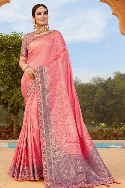 Pink and Purple Banarsi Silk Embroidered Saree