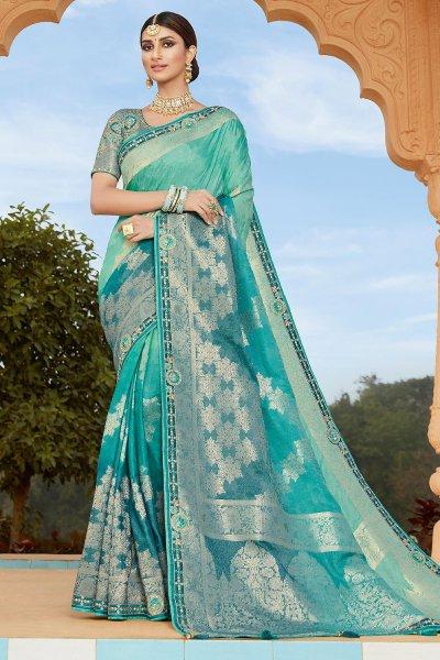 Blue Banarsi Silk Embroidered Saree