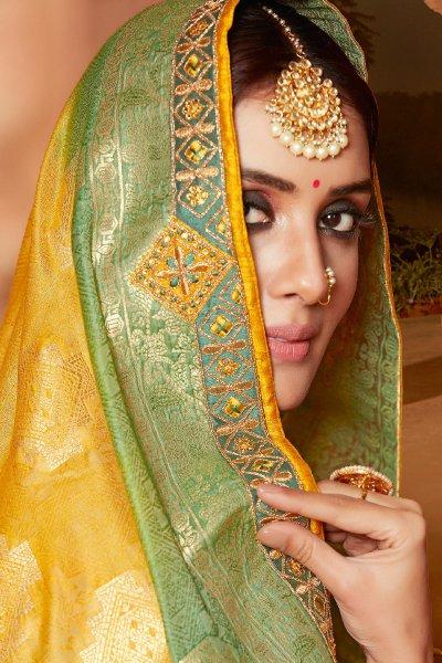 Yellow and Green Banarasi Silk Embroidered Saree