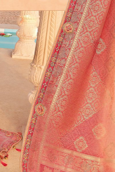 Peach and Pink Banarsi Silk Embroidered Saree