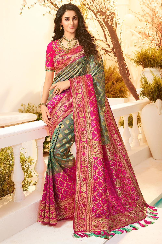 Pink And Sage Green Banarasi Silk Saree