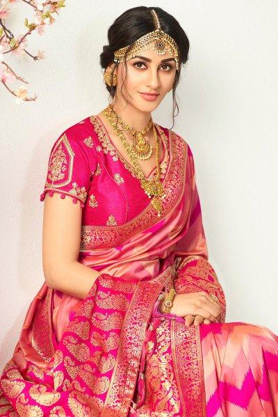 Pink Toned Banarasi Silk Saree