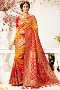 Yellow and Red Banarasi Silk Saree