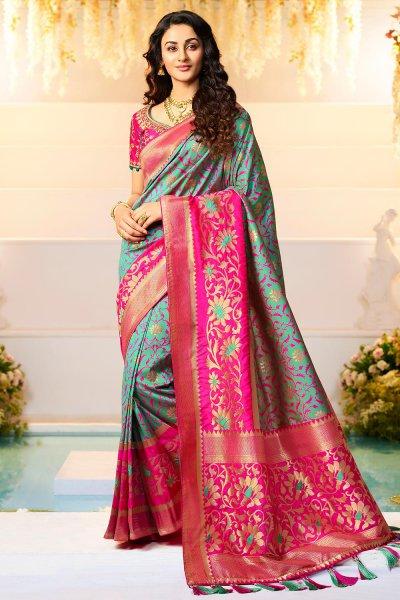Tiffany Green Banarasi Silk Saree