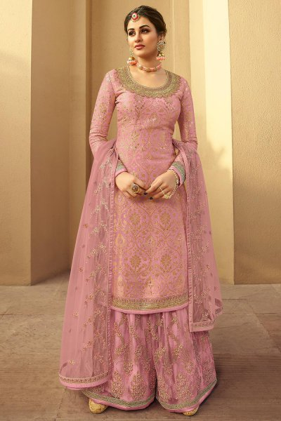 Daisy Pink Silk Jacquard Kurta Palazzo Set