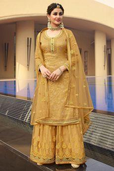 Dull Gold Silk Jacquard Kurta Palazzo Set