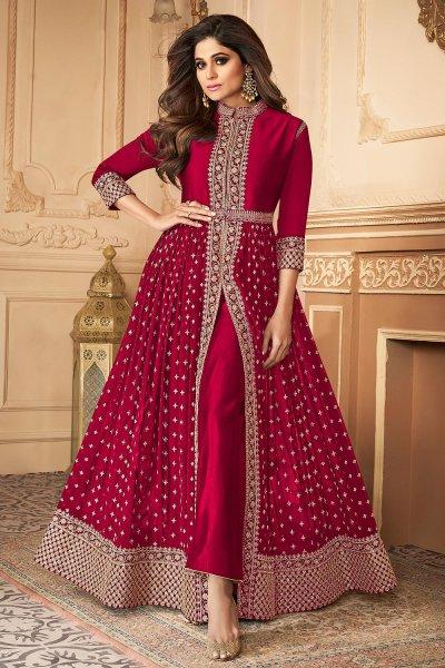 Crimson Zari Embroidered Anarkali Suit in Georgette with Dupatta