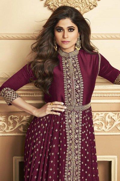 Plum Zari Embroidered Anarkali Suit in Georgette with Dupatta