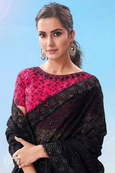 Black  Premium Net Embellished Party Wear Saree