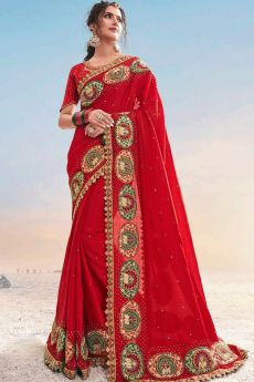 Red Embellished Party Wear Saree